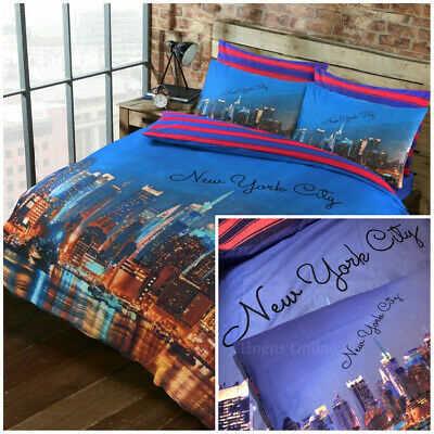 New York City NYC Skyline Bedding American Reversible Stripe Duvet Cover Set