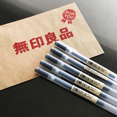 Muji Moma Japan 0.38mm Non-toxic Gel Ink Black 5 Pens Fastest Free