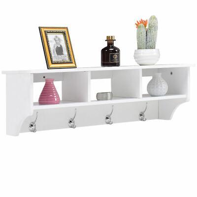 Wall Mount Coat Rack Storage Shelf Cubby Organizer Hooks Entryway Hallway -