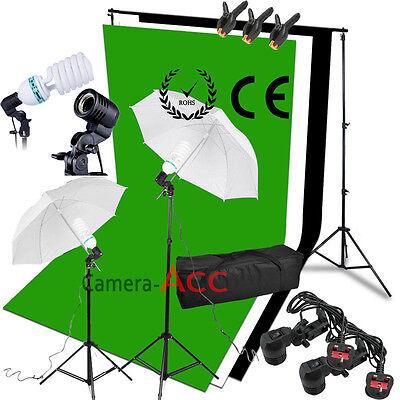 Black White Green Backdrop Studio Soft Umbrella Lighting Kit + Background Stand