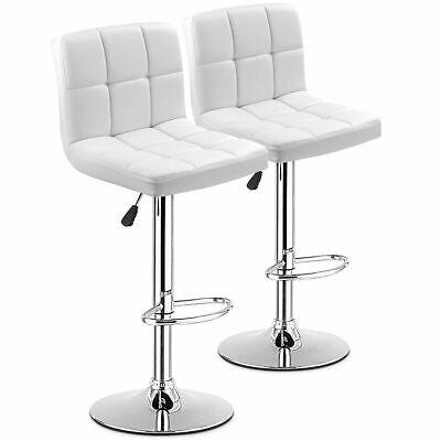 Set of 2 Bar Stool PU Leather Barstool Chair Adjustable Counter Swivel Pub White