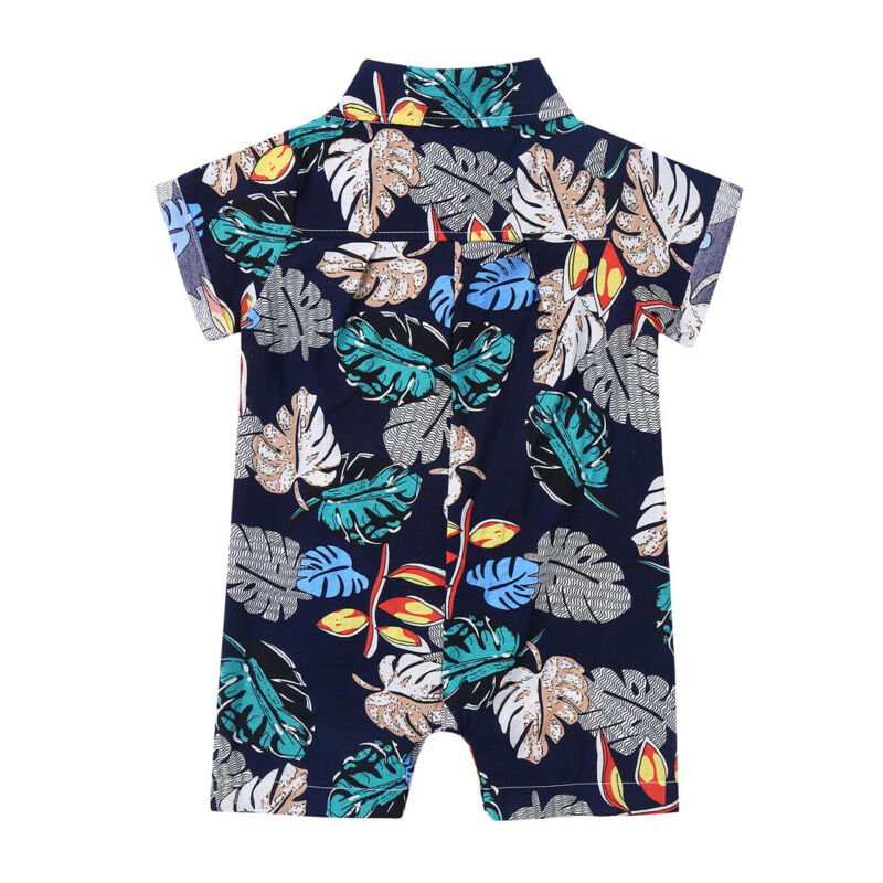 Newborn Baby Boys Summer Clothes Cotton Romper Casual Hawaiian Jumpsuit Outfit