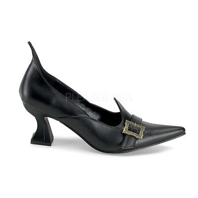 Sexy Black Matte Wicked Evil Salem Witch Halloween Costume Pump Shoes SAL06/B/PU - Salem Halloween Party