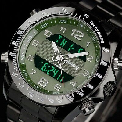 INFANTRY Mens Digital Quartz Wrist Watch Date Chrono Sport Stainless Steel Green
