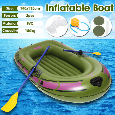 Green  2 Person Inflatable Dinghy Rubber Boat Kayak Rubber with Oars + Air Pump