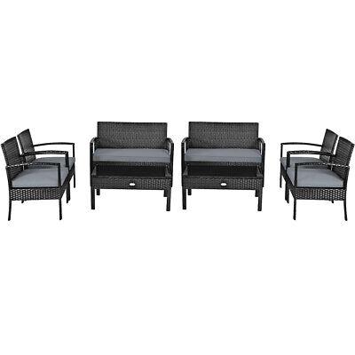 4PCS Rattan Outdoor Patio Conversation Set Cushioned Sofa Co