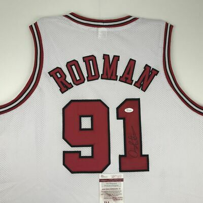 5d1f70f384dc Autographed Signed DENNIS RODMAN Chicago White Basketball Jersey JSA COA  Auto