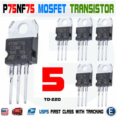 5pcs Stp75nf75 P75nf75 Power Mosfet Transistor To-220 80a 75v N-channel Usa