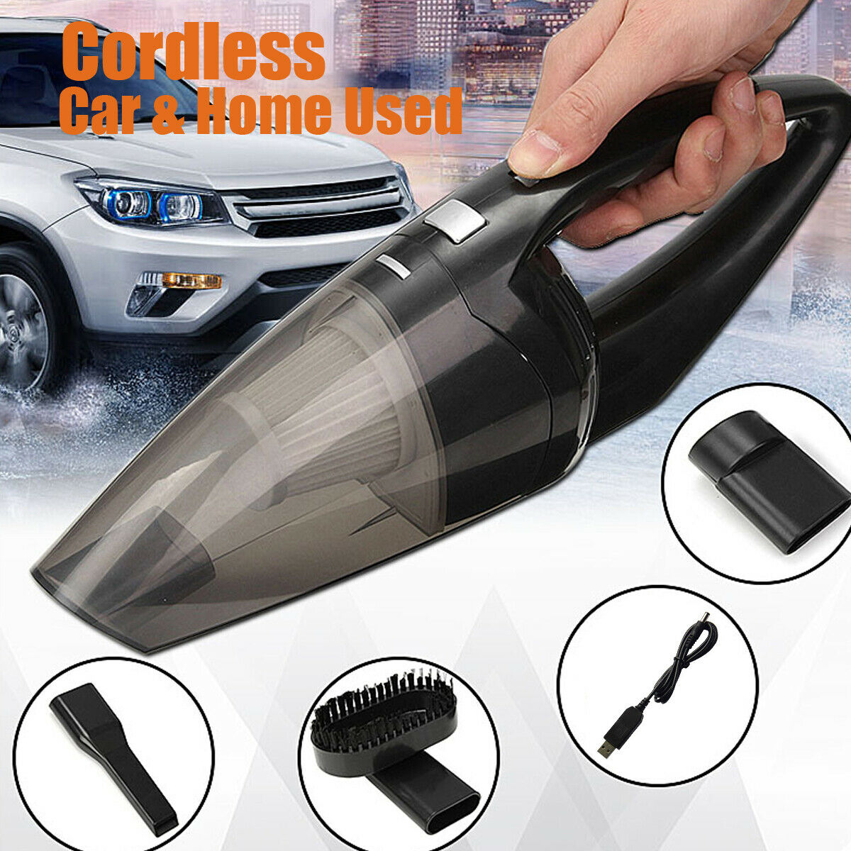 120W Car Home Cordless Vacuum Cleaner Rechargeable Wet/Dry H