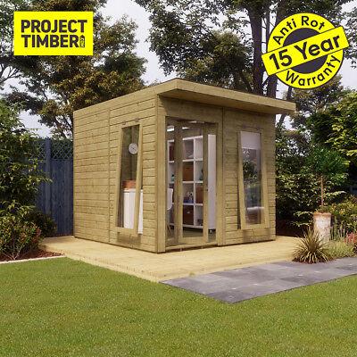 8 x 10 Pressure Treated Pent Summerhouse Garden Office with Bi-Fold Door