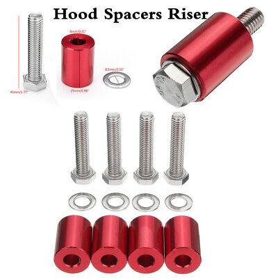 Universal Red Aluminum Alloy Billet Car 8mm Bolt Hood Vent Spacer Riser Set Kits