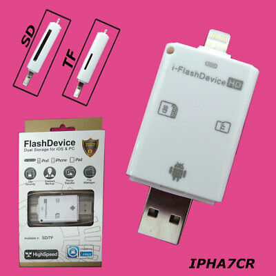 Lightning SD Carte de visite Reader USB Micro SD Card TF Adapter for iPhone 6 7 Plus i Pad
