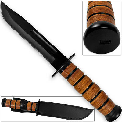 Reproduction WWII Combat USMC Kabar-Style Fighting Knife with Leather Sheath ()
