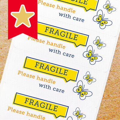 Fragile Labels Stickers For Online Shop Sellers 100ct - Yellow Butterfly