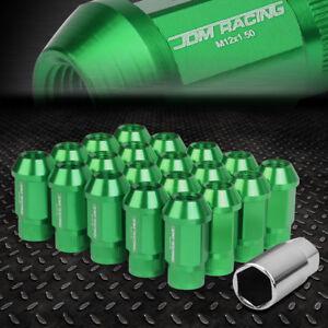 JDM OPEN-END ALUMINUM GREEN WHEEL LUG NUTS SET+ADAPTER M12X1.5 25MMx44MM TALL