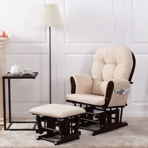 Baby Nursery Relax Rocker Rocking Chair Glider Ottoman Set W Cushion Beige