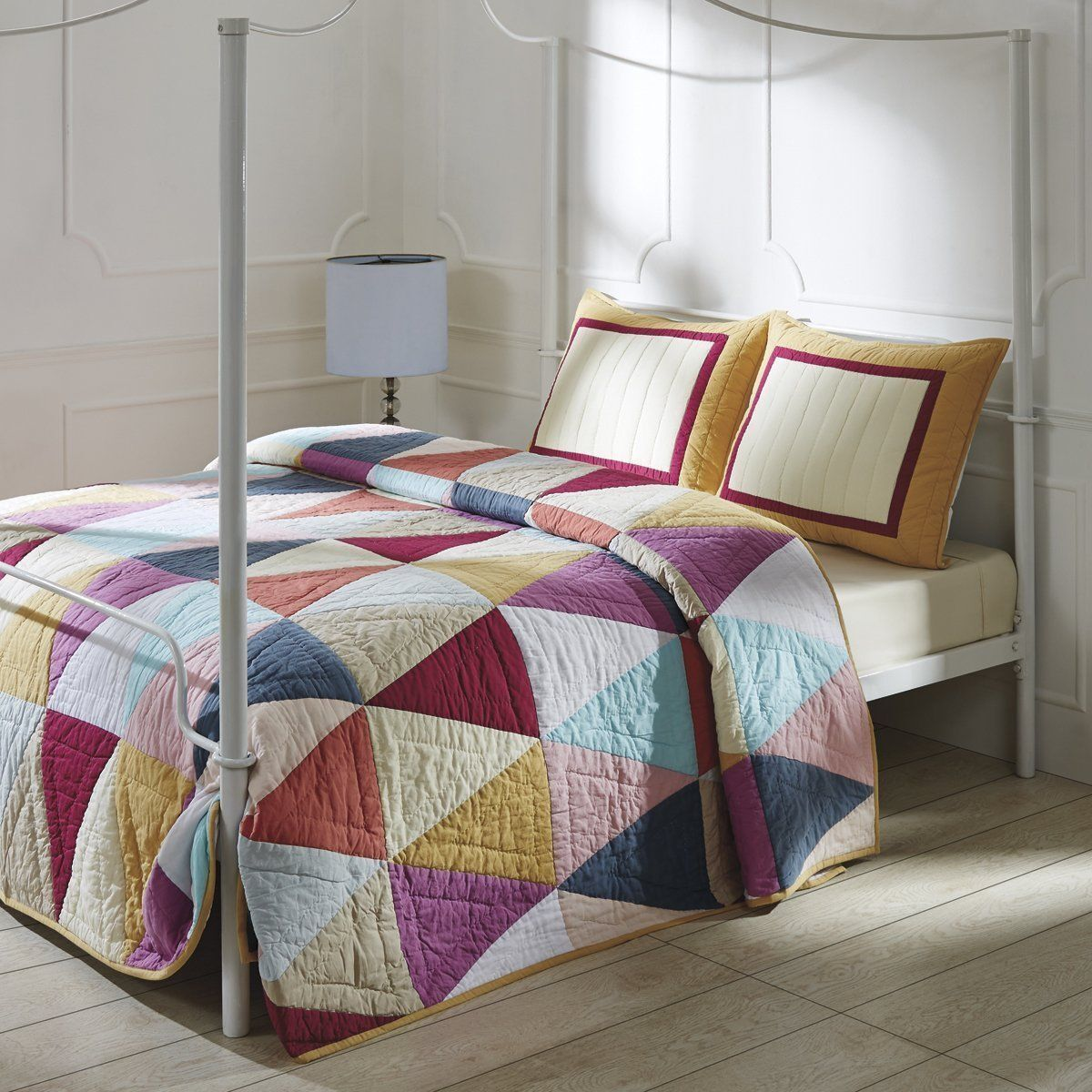 NIP VHC Brands Gala Multi Colored Patchwork King Quilt & Sha