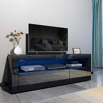 Modern High Gloss TV Stand Unit 2 Drawer w/ LED Light Entertainment Center Black