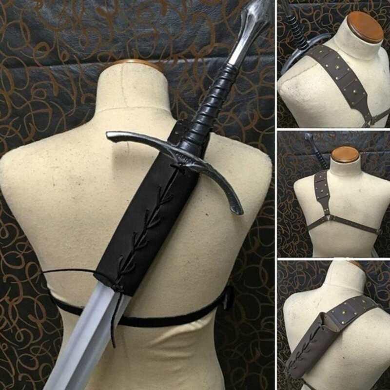 Medieval Men Sword Shoulder Back Sheath Scabbard Holder Warrior One shoulder NEW