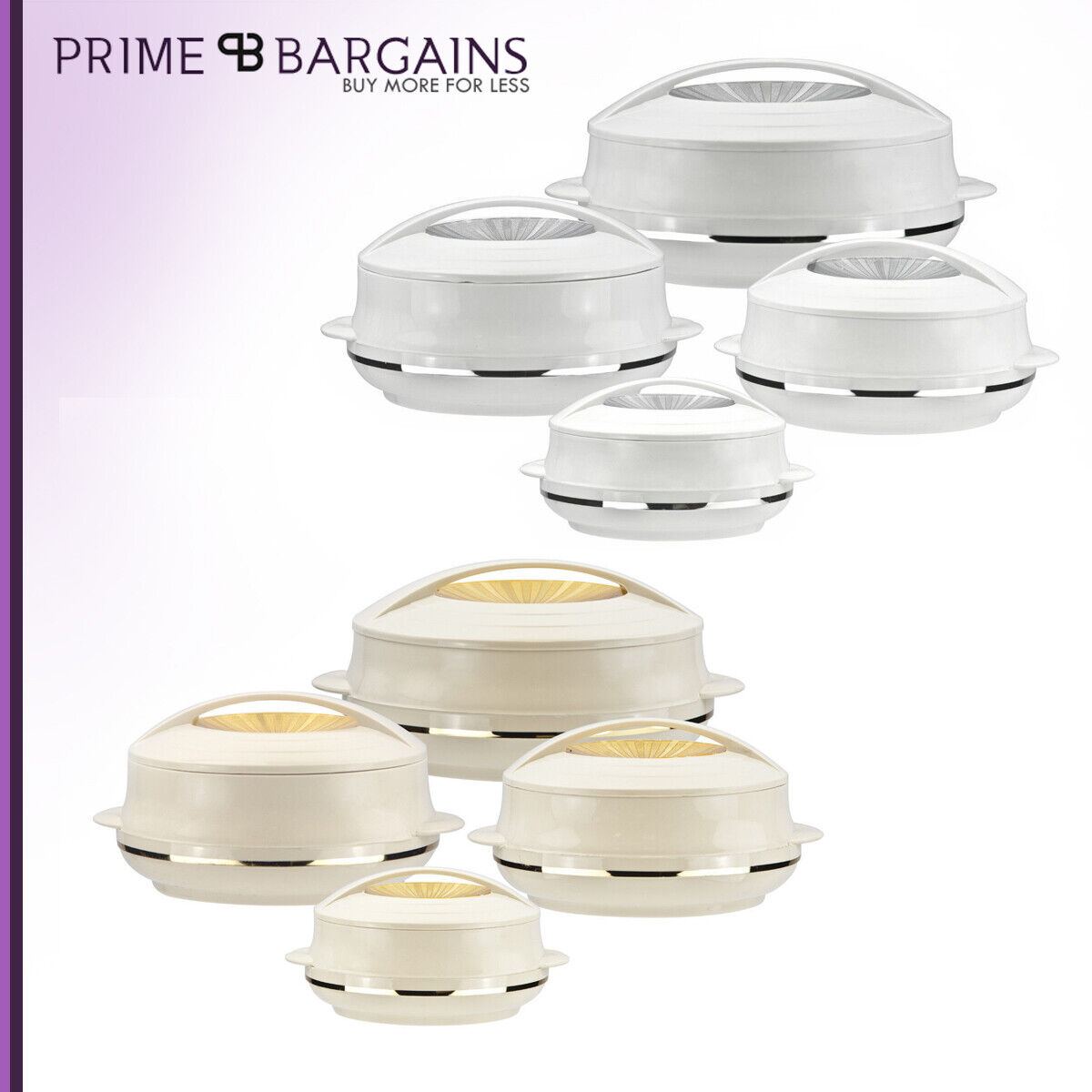 Insulated 4pc hot pot Food Serving Warming Casserole Pan Dish Set Beige Olympic