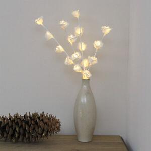 LED BATTERY WARM WHITE FAIRY ROSE FLOWER TWIG BRANCH VASE DECORATIVE TIMER LIGHT