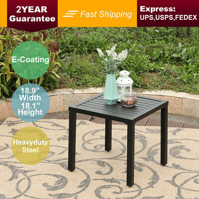 PHI VILLA Outdoor Small Metal Square Side/End Table,Patio Coffee Balcony Table ()