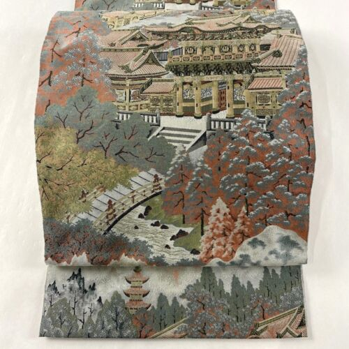 "Japanese Kimono SILK Fukuro OBI, Zentu ,Scenery with a temple, Casual,L168"".2028"
