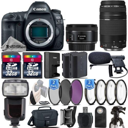 Canon 5D Mark IV DSLR Full Frame Camera + 50mm 1.8 STM + 75-