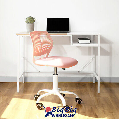 Midback Office Chair Swivel Rose Pink Plastic Mesh Kids Desk Comupter Study Room