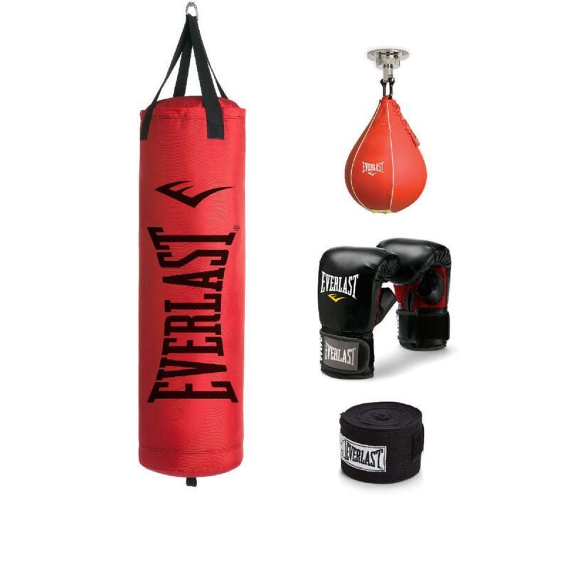 Everlast Heavy Bag Gloves Kit Filled Punching Bag Boxing MMA Train Red Color 70l