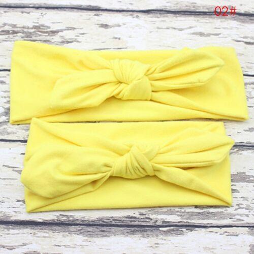 2pcs Women Kids Baby Girl Elastic Bow Knotted Turban Hair Band Headband Headwear