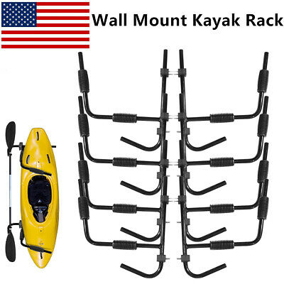 4 Pair Black Kayak Rack Wall Mount Storage Surfboard Canoe System Folding Hanger