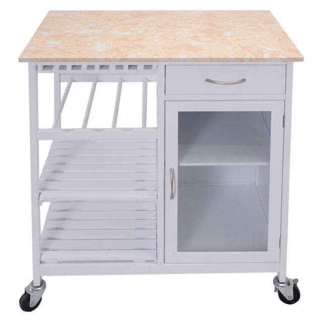 Rolling Kitchen Islands And Kitchen Island Carts: Portable Kitchen Rolling Cart Faux Marble Top Island