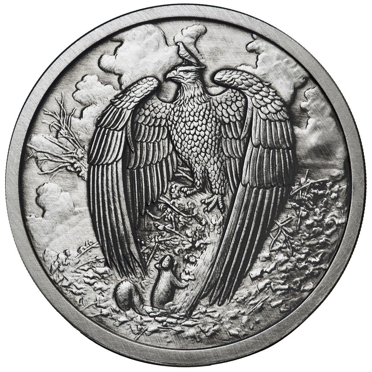 1 OZ GREAT EAGLE ANTIQUE .999 SILVER W/ COA NORDIC CREATURES #5 VIKING VALKYRIE
