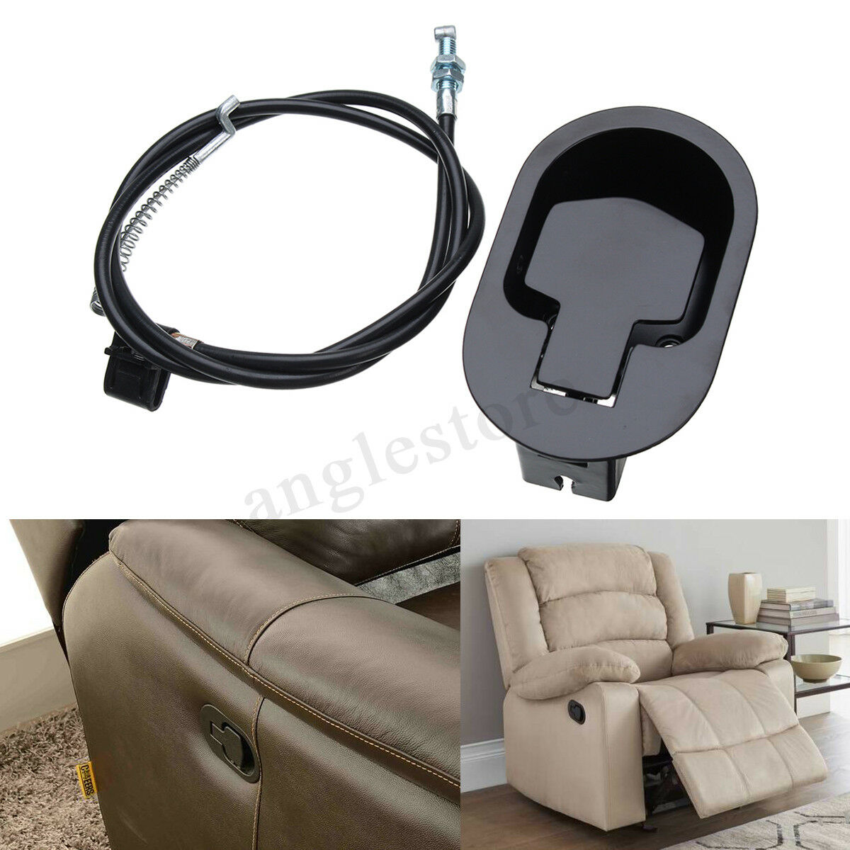 Metal Recliner Handle Release Lever Trigger Cable Sofa Loung