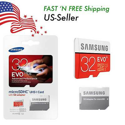 SAMSUNG EVO Plus 32GB MicroSD Micro SDHC C10 Flash Memory Card w/ SD Adapter