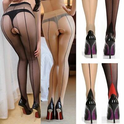 Back-Seam Line Stockings Cuban High Heel Tights Pantyhose 20D Sheer Crotchless - High Heel Sheer Stockings