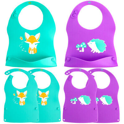 3pk Kinderville Unisex Silicone Baby Bibs Waterproof Washabl