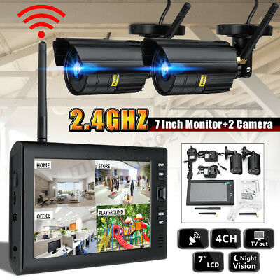 7'' LCD Monitor DVR Motion Digtal Wireless CCTV Camera Home Security System Kits Monitor Security Kit