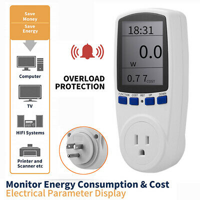 Digital Lcd Power Saving Energy Monitor Watt Amp Volt Kwh Meter Analyzer Us Plug