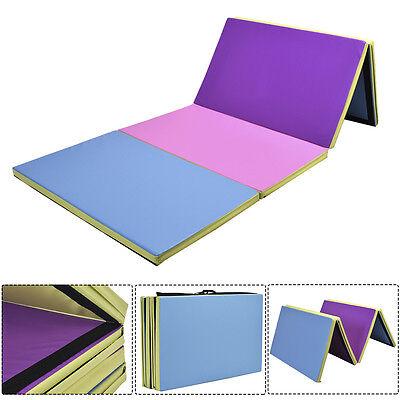 10FT Folding Gymnastics Tumble Floor Mat Yoga Exercise Fitness Pilates Gym Color
