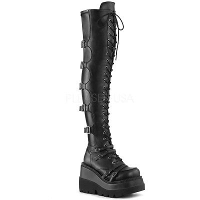 SHAKER-350  SOFT STRETCH PUNK GOTH MULTI BUCKLE LACE UP WEDGE  THIGH HIGH  BOOT