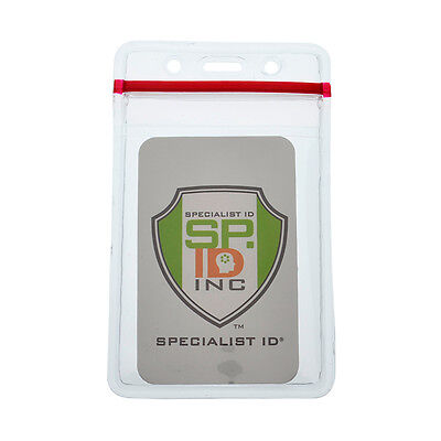 Heavy Duty Clear Vinyl ID Badge Holder with Resealable Zip-Lock Top - - Height Lock