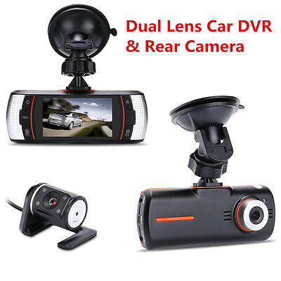 "2.7"" HD 1080P Dual Lens Car Dash DVR Video Recorder Vehicle Separate Rear Camera"