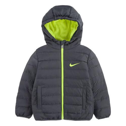 NIKE Toddler Boy Puffer Zip Hooded Jacket Size 4T Dark Gray