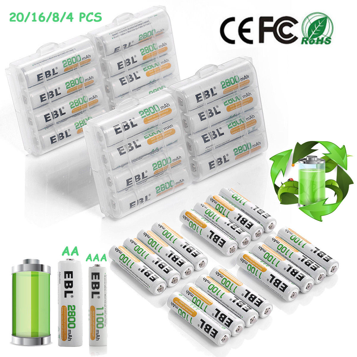 aaa aa ni mh rechargeable batteries pack