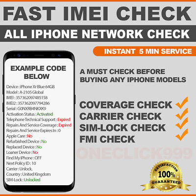 Instant iPhone Imei check service Network, Carrier, Simlock Status, FMI Check.