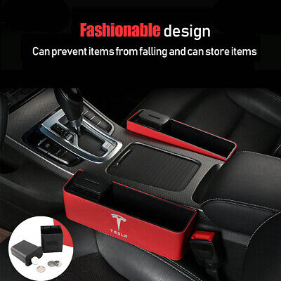 2Pcs Car Seat Organizer Storage Box For Tesla Model 3/S/X Red PU Leather Pocket