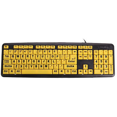 Ez Large Print Keyboard Brand New Yellow Big 4x Larger Keys Computer Letter