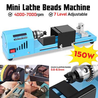 Mini Diy 150w Wood Lathe Bead Cutting Machine Drill Polishing Woodworking Us